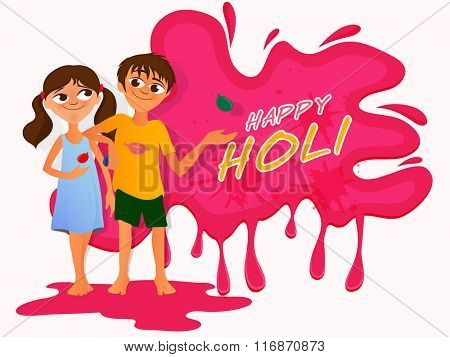 Cute little kids playing and enjoying on occasion of Indian Festival of Colours, Holi celebration.