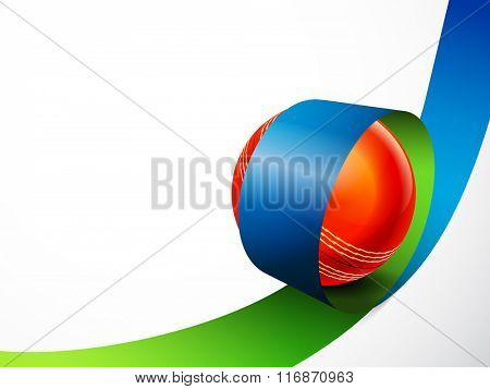 Creative Red Ball in glossy stripe for Cricket Sports concept.