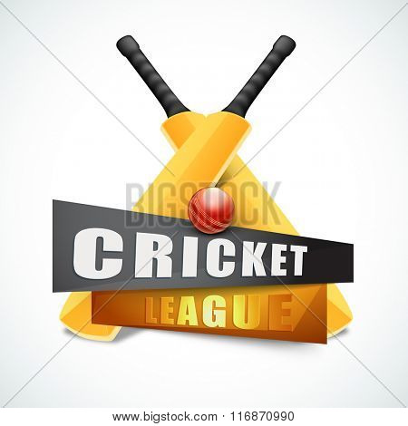 Creative glossy Bats with red Ball for Cricket League concept.