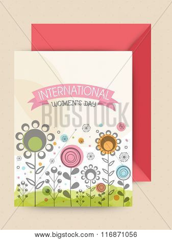 Beautiful flowers decorated greeting card design with envelope for Happy International Women's Day celebration.