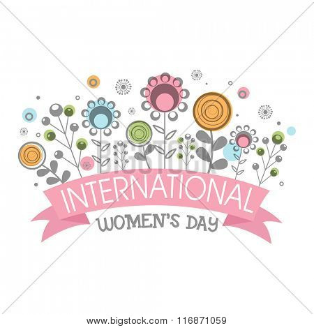 Elegant greeting card design with beautiful flowers for International Women's Day celebration.