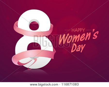 Stylish 3D text 8 March covered by ribbon on shiny background for Happy International Women's Day celebration.
