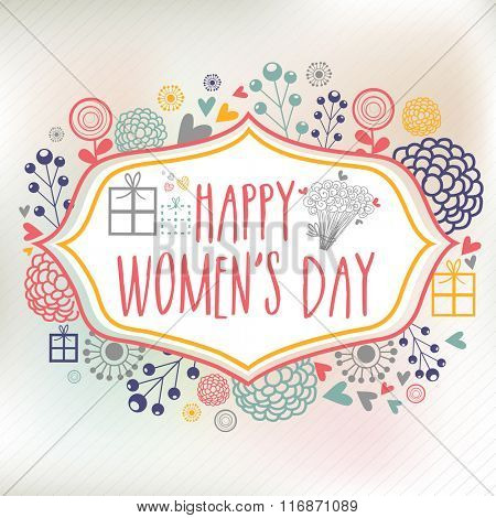 Elegant greeting card design decorated with creative ornaments for Happy Women's Day celebration.