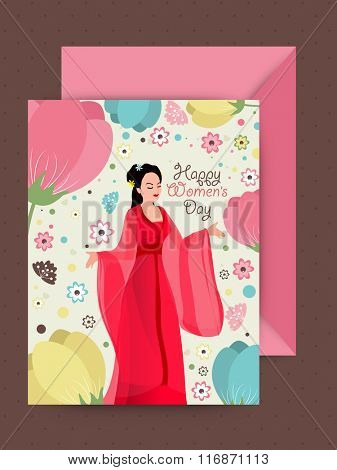 Illustration of beautiful young girl and colorful flowers decorated greeting card design with pink envelope for Happy Women's Day celebration.