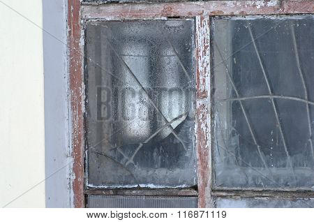 Old frosted window