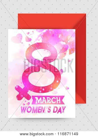 Creative shiny text 8 March decorated greeting card design with glossy envelope for Happy Women's Day celebration.