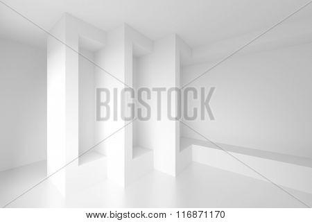 Column Interior Design. White Modern Background