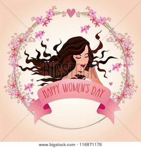 Elegant greeting card with young fashionable girl for Happy International Women's Day celebration.