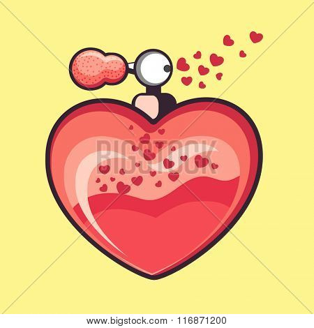 Creative heart shaped perfume bottle on yellow background for Happy Valentine's Day celebration.