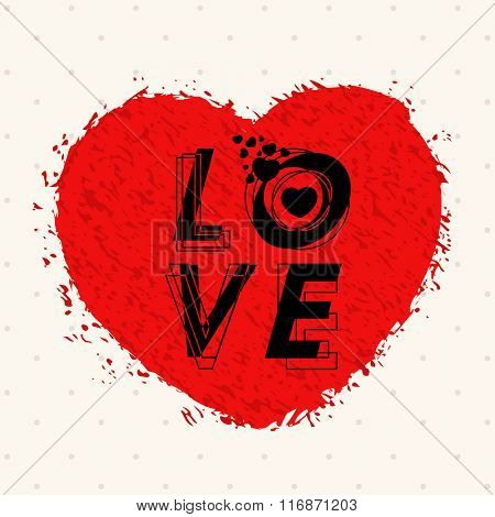 Stylish text Love on creative red heart for Happy Valentine's Day celebration.