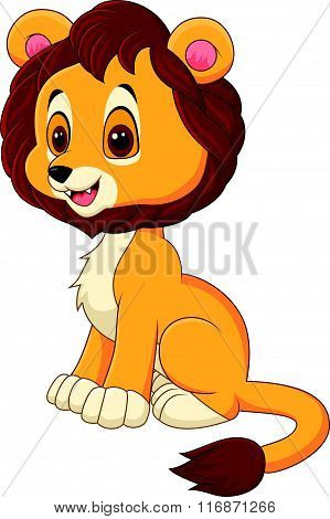 Cute baby lion walking isolated on white background