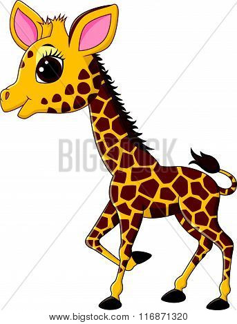 Adorable giraffe character isolated on white background