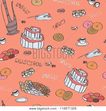 Vector Seamless Pattern. Hand Drawn Cute Doodle Elements: Cake, Mug, Candies, Sweets, Tea Pot, Plate