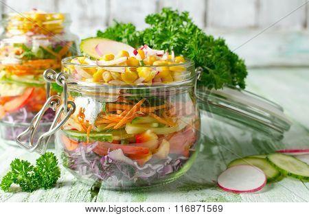 Vegetarian Rainbow Salad In A Glass Jar For Summer Picnic