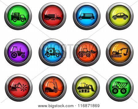 Transportation and Loading Machines icons set