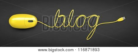 A yellow computer mouse and the word blog formed by the cable