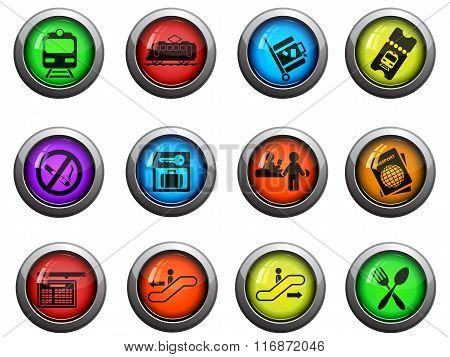 Train station icons set