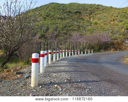 White And Red Road Bollards