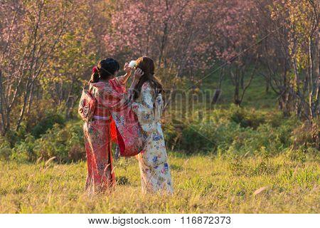 Kimono On Sakura Garden
