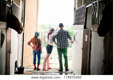 family on ranch, farm
