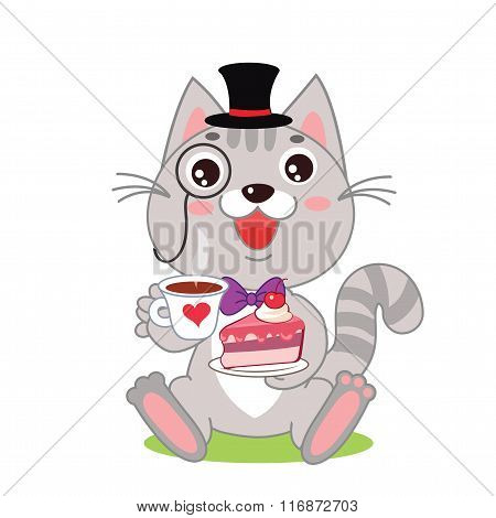 Funny Cat In Bowler Hat And Monocle, And Cake In His Hands. Vector Cartoon Animals Illustration. Funny Cat Picture. Funny Cat Meme. Funny Cat Gourmet. Funny Cat Gentleman. Vintage Funny Cat.