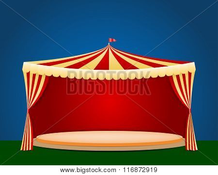 Circus Tent With Blank Podium For Your Object Or Text