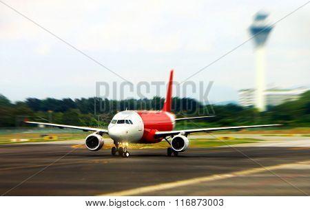 Air Plane On Runway Ready For Take-off