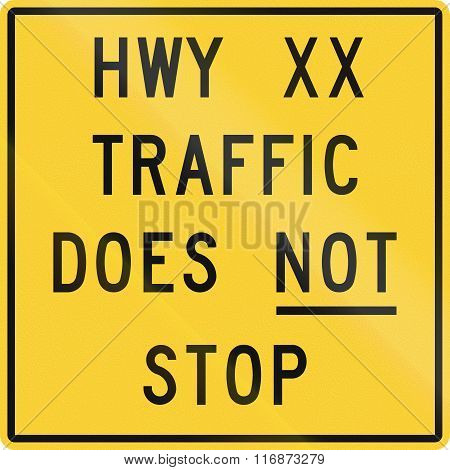 Road Sign Used In The Us State Of Nebraska - Highway Traffic Does Not Stop