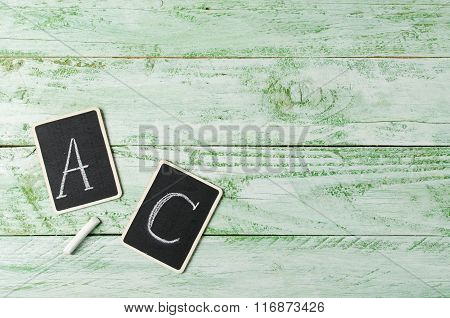 Wooden Background With Tablets, Vitamins A And C