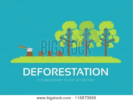 issue deforestation in flat design background concept. Ecological natural problem. Icons for your pr