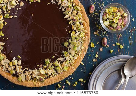 Tart With Caramel, Chocolate And Nuts