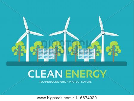 Ecology technology in flat design background concept. Eco clean energy around green tree for protect