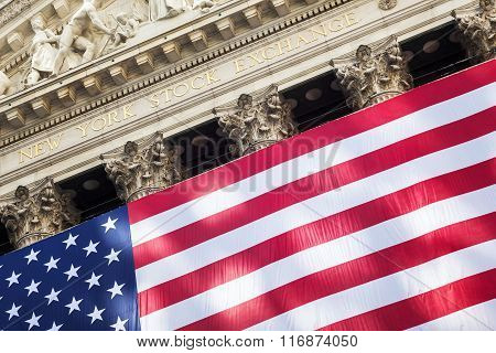 NEW YORK CITY - JULY 11: The New York Stock Exchange on Wall Street on July 11 2015 in New York City. The NYSE is one of the most important stock exchanges worldwide.