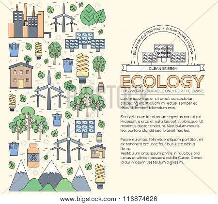 Thin line natural resources modern illustration concept. Infographic way from ecology to clean energ