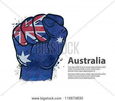 Fist. the flag of Australia. vector illustration