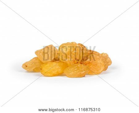 The Bright Heap Of Raisins Isolated On White Background