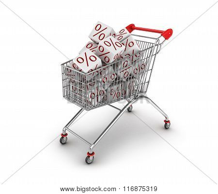 Discount Concept. Shopping Trolley And White Cubes With Percent Sine Isolated