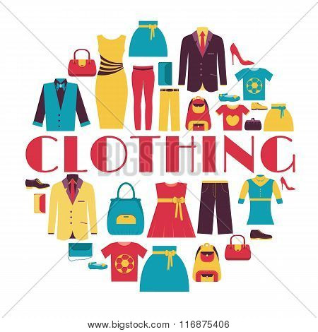 Fashion clothing infographics template concept. Icons design for your product or design, web and mob