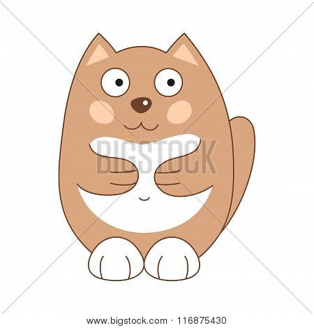 Vector illustration of brown funny fatty cat