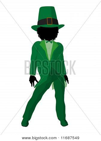 African American Leprechaun Gril Illustration Silhouette