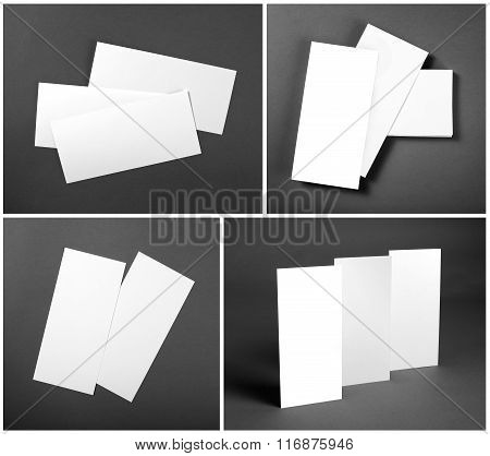Set Of Blank White Flyers Over Gray Background. Identity Design. Flyer Mockup. Corporate Templates