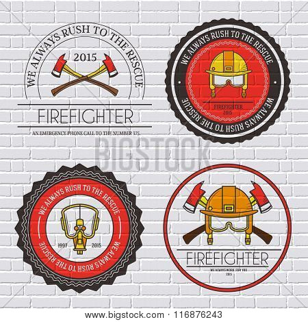firefighter label template of emblem element for your product or design, web and mobile applications