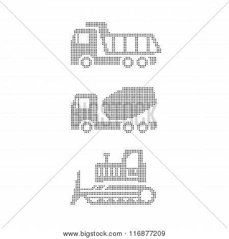 equipment on white tractor, grader, truck, truck mixer