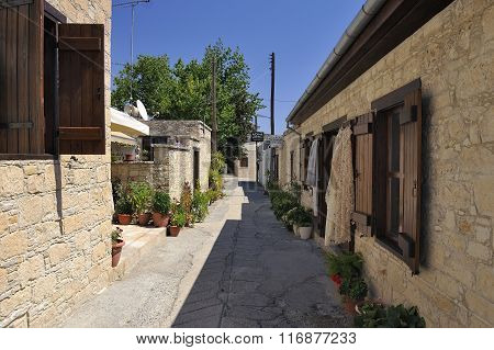 View of the narrow streets in old village Omodos in the Troodos Mountains