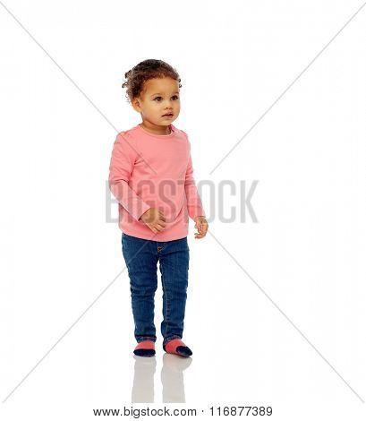 beautiful little baby girl walking
