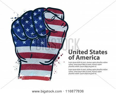 fist.  flag USA, United States of America. vector illustration