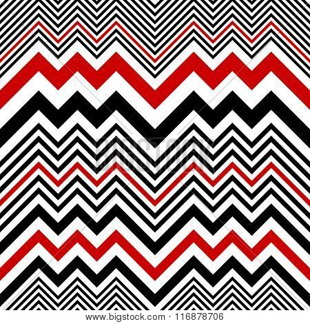 Seamless Zig Zag Pattern. Abstract  Black and Red Background. Vector Regular Texture