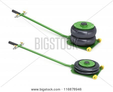 Set Of Two Pneumatic Vehicle Jack In Different States On A White Background