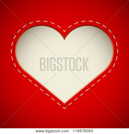 Valentine'??s Day cut heart card vector template.