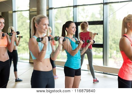 group of women with dumbbells in gym